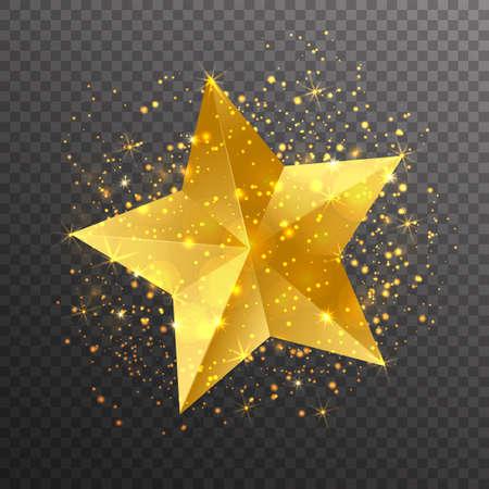 Gouden ster met licht schittert op transparante achtergrond. Vector illustratie. Stock Illustratie