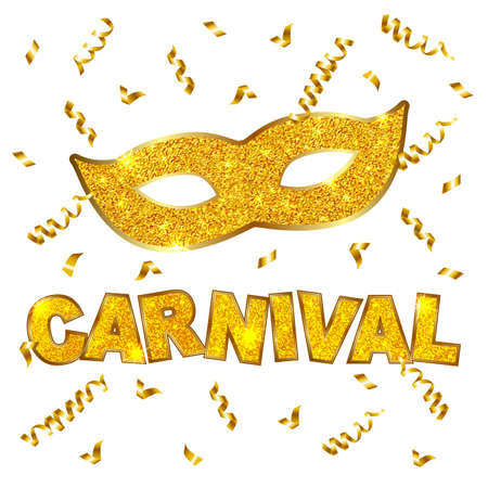 Carnival gold glitter texture mask and serpentine. Mardi Gras holiday card design template. Vector Illustration. Illustration