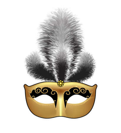 Golden mask with black feathers isolated on white background. Mardi Gras or Venetian masquerade festival. Vector Illustration. Illustration