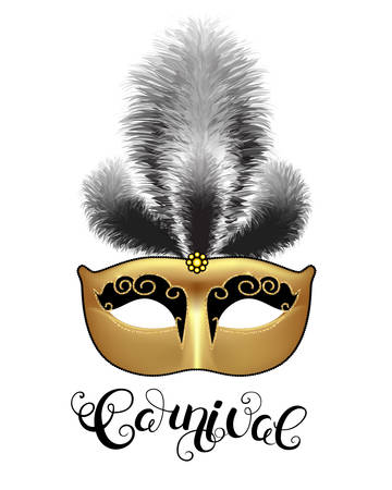 Golden mask with black feathers and callygraphy. Carnival text for Mardi Gras or Venetian masquerade festival. Vector Illustration. Illustration