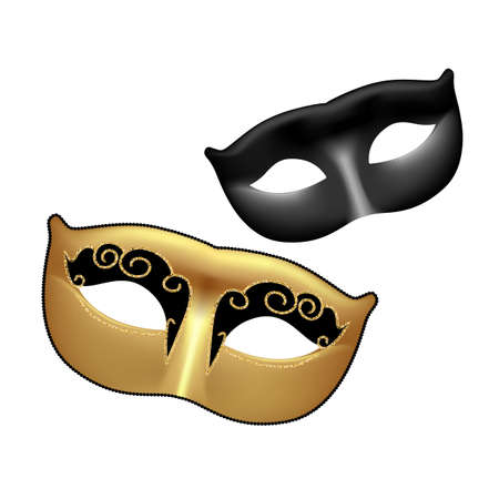 masquerade masks: Golden and black masks isolated on white background. Template for Mardi Gras or Venetian masquerade festival. Vector Illustration.
