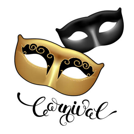 masquerade masks: Golden and black masks with callygraphy lettering. Carnival text for Mardi Gras or Venetian masquerade festival. Vector Illustration.