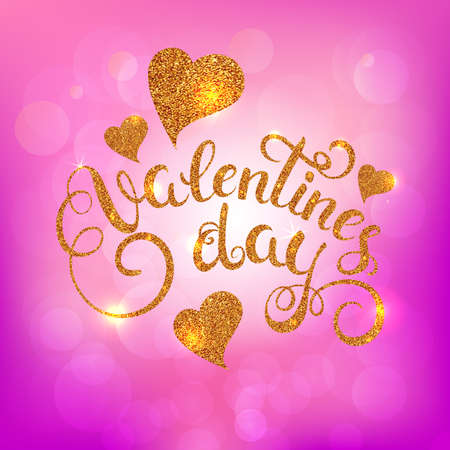 Happy Valentines day greeting card with gold glitter texture callygraphy on soft pink background. Vector Illustration. Illustration