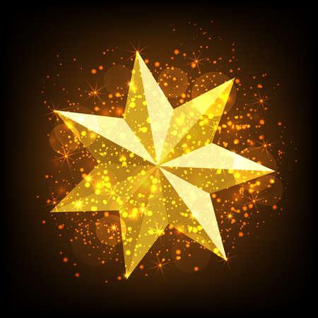 flashlights: Gold star with lights sparkles. Vector illustration.