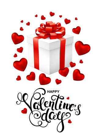 Happy Valentines day greeting card with callygraphy, hearts confetti and gift box.
