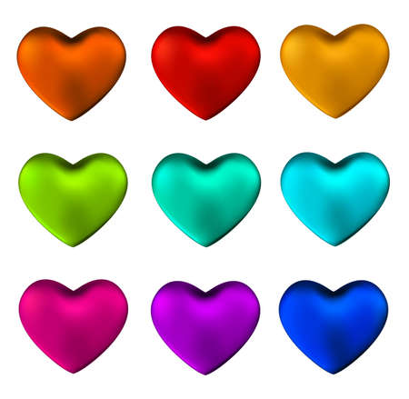 Colorful heart set isolated on white background.