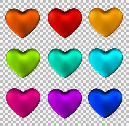 colorful heart: Colorful heart set isolated on transparent background.