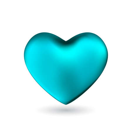 Turquoise heart isolated on white background. Happy Valentines day greeting template.
