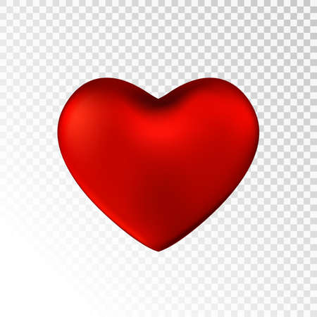 Red heart isolated on transparent  background. Happy Valentines day greeting template.