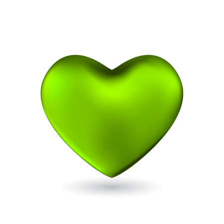 Green heart isolated on white background. Happy Valentine's day greeting template. Ilustração