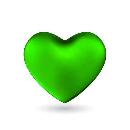 Green heart isolated on white background. Happy Valentines day greeting template.