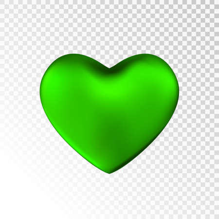 Green heart isolated on transparent  background. Happy Valentine's day greeting template. Çizim