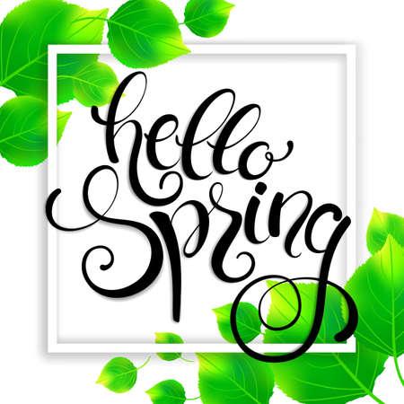 Hello spring handwritten calligraphy lettering on green leaves background. Vector illustration.