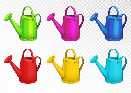 Colorful watering cans set isolated on transparent background. Vector illustration.