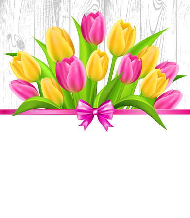Spring background with colorful tulips bouquet  on wood  background. Vector illustration. Illustration