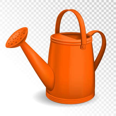 Pomarańczowy konewka na białym tle na przezroczystym tle. Ilustracji wektorowych.