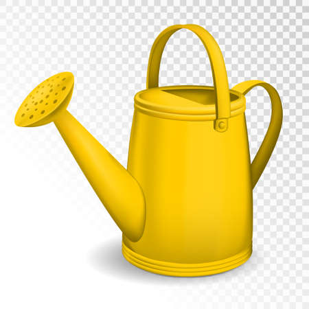 Yellow watering can isolated on transparent background. Vector illustration.