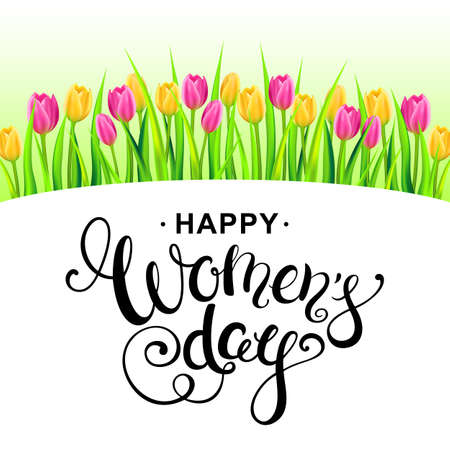 Happy womens day illustration with colorfull tulips and handwritten calligraphy. 8 march greeting card template.  Vector illustration. Illustration