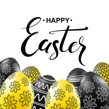 Happy easter card with black and yellow eggs with pattern. Handwritten calligraphy lettering. Vector illustration.