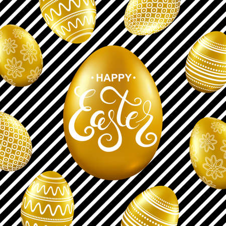 Happy easter card with gold eggs, and handwritten calligraphy lettering. Vector illustration. Illustration