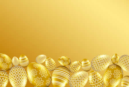 Gold easter eggs with pattern on golden background. Vector illustration.