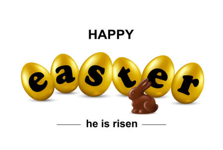 Happy easter card with gold eggs, chocolate rabbit and font.  Vector illustration. Illustration
