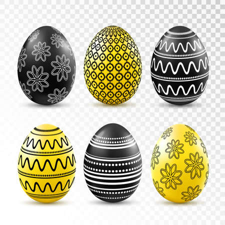 patten: Black and yellow easter eggs with patten set isolated on transparent background. Vector illustration.