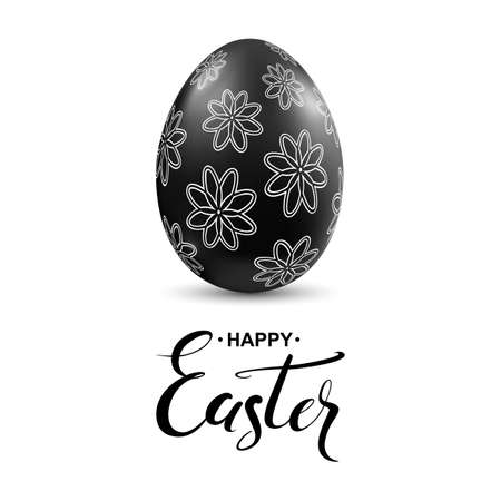 black egg with flower pattern and handwritten calligraphy lettering