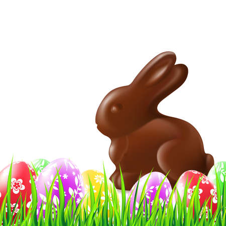 Easter background with chocolate rabbit, grass and colorful eggs. Vector illustration.
