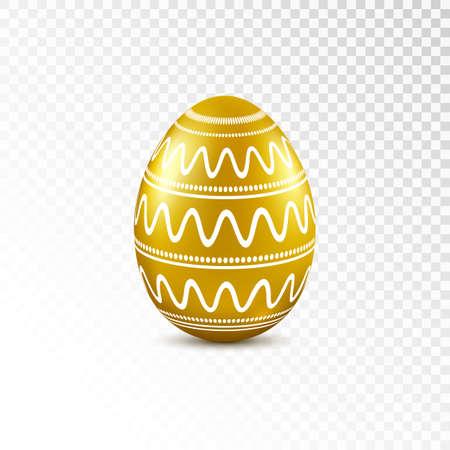 Huevo de Pascua oro con diseño geométrico aislado sobre fondo transparente. Ilustración vectorial Foto de archivo - 74571164