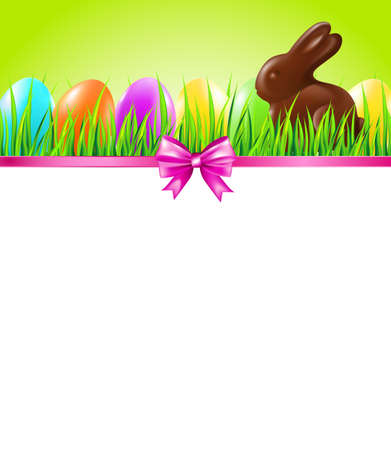 Easter background with colorful eggs, grass, chocolate rabbit and bow. Vector illustration.