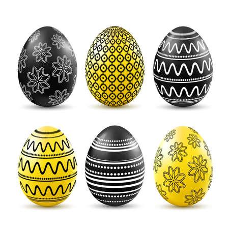 patten: Black and yellow easter eggs with patten set isolated on white background. Vector illustration. Illustration