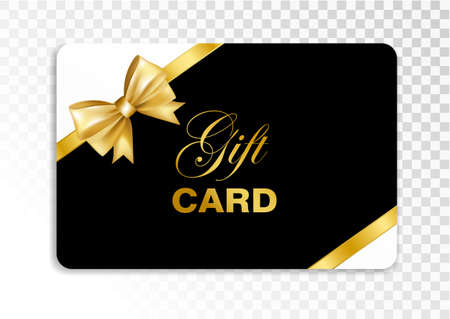 Gift card with gold bow isolated on transparent background. Vector illustration. Illustration