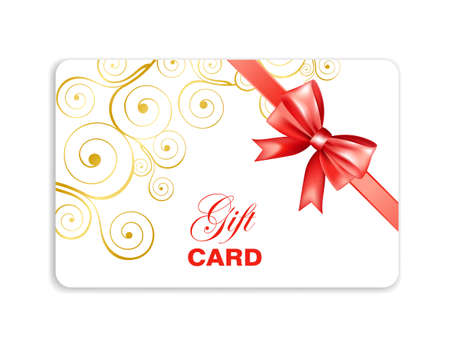 Gift card with red bow and swirls pattern. Gift Or Credit Card Design Template. Vector illustration.