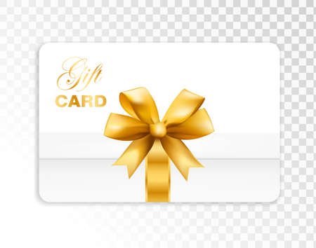 Gift card with box and gold bow isolated on transparent background. Vector illustration.