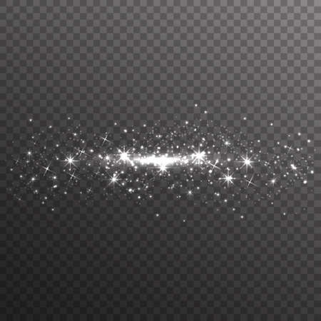 Silver glitter sparkles on transparent background. Vector dust texture. Twinkling confetti, shimmering star lights. Vector illustration.