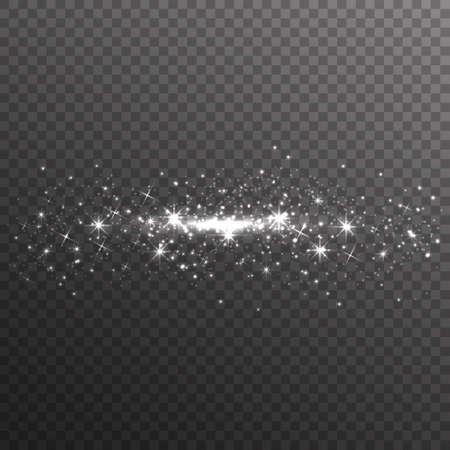 Zilveren glitter schittert op transparante achtergrond. Vector stoffentextuur. Twinkelende confetti, glinsterende sterrenlichten. Vector illustratie.