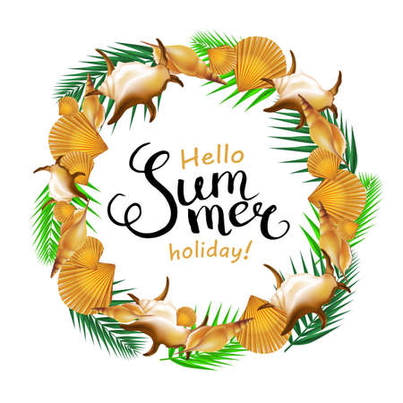 mollusc: Hello summer holiday handwritten calligraphy with shells border and palm leaves. Vector Illustration.