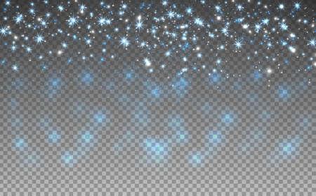 sequin: Blue glitter sparkles on transparent background. Vector golden dust texture. Twinkling confetti, shimmering star lights. Vector illustration.