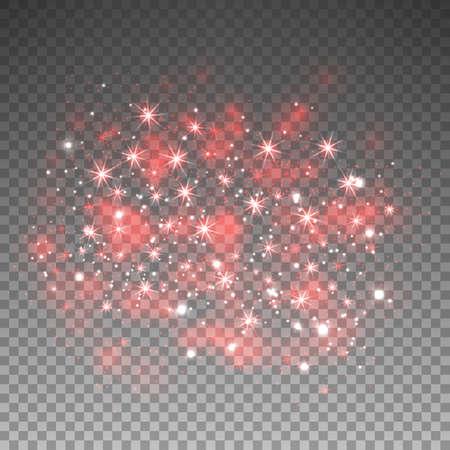 Rode glitter schittert op transparante achtergrond. Vector stoffentextuur. Twinkelende confetti, glinsterende sterlichten. Vector illustratie.