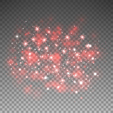 Red glitter sparkles on transparent background. Vector dust texture. Twinkling confetti, shimmering star lights. Vector illustration.