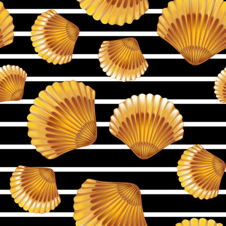 mollusc: Shells on black lines seamless pattern. Vector illustration.