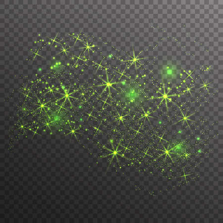 Green glitter sparkles wave isolated on transparent background. Vector dust texture. Twinkling confetti, shimmering star lights.