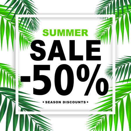 Summer sale -50 percent season discounts banner with paper frame and palm  leaves. Shop market poster design. Vector illustration.