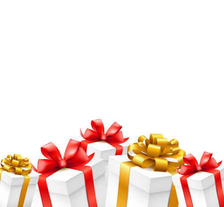 red packet: Gift boxes with gold, red ribbons  isolated on white  background. Vector illustration.