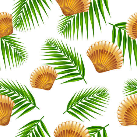 mollusc: Shells and palm leafs seamless pattern. Vector Illustration. Illustration