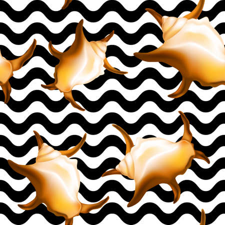 Shells on black waves seamless pattern. Vector illustration.