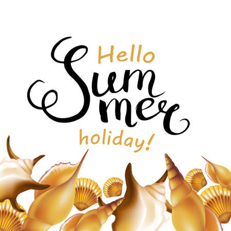 Hello Summer holiday handwritten calligraphy and shells border. Vector Illustration.
