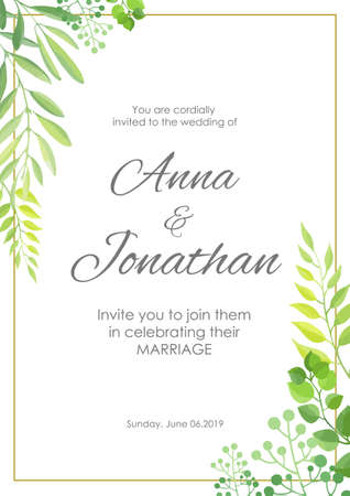 Wedding invitation with green leaves border. Floral invite modern card template. Vector illustration. 向量圖像