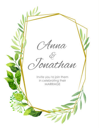 Wedding invitation with green leaves border and geometric pattern. Floral invite modern card template. Vector illustration. Ilustração